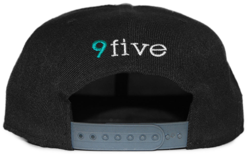 <!--020120327043483-->9five Eyewear - 'Logo - White/ Teal' [(Black) Snap Back Hat]