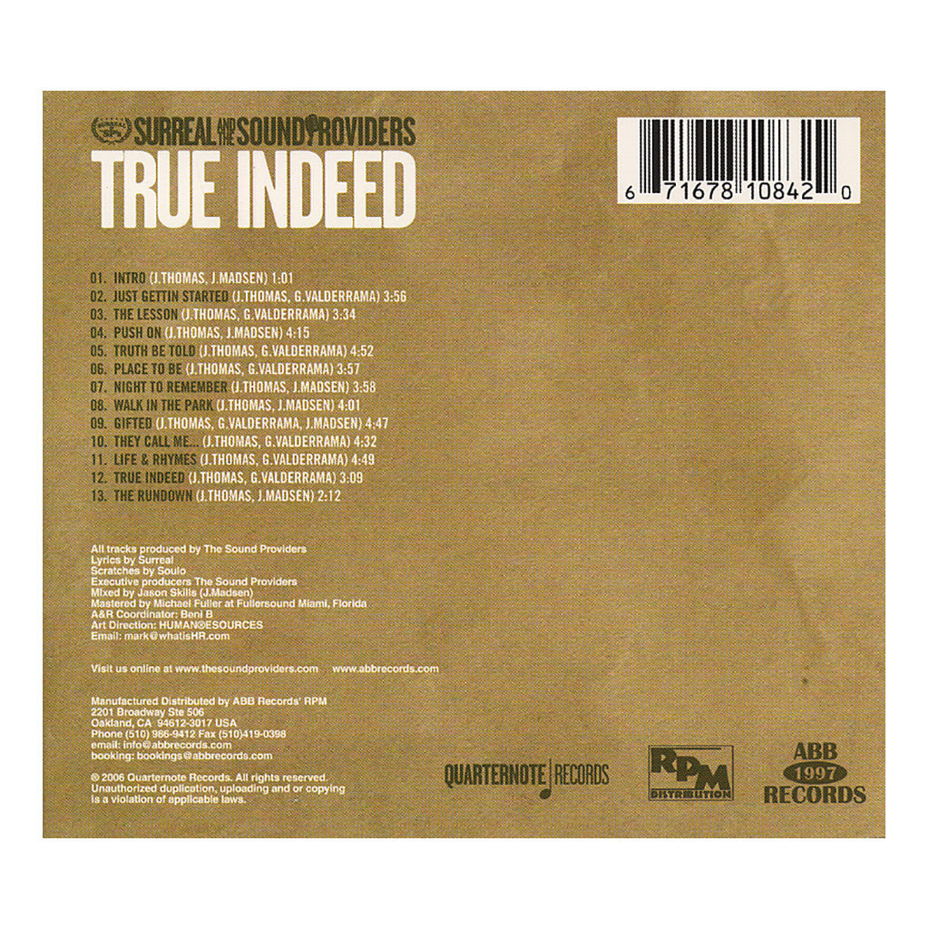 <!--020061121008380-->Surreal & The Sound Providers - 'True Indeed' [CD]