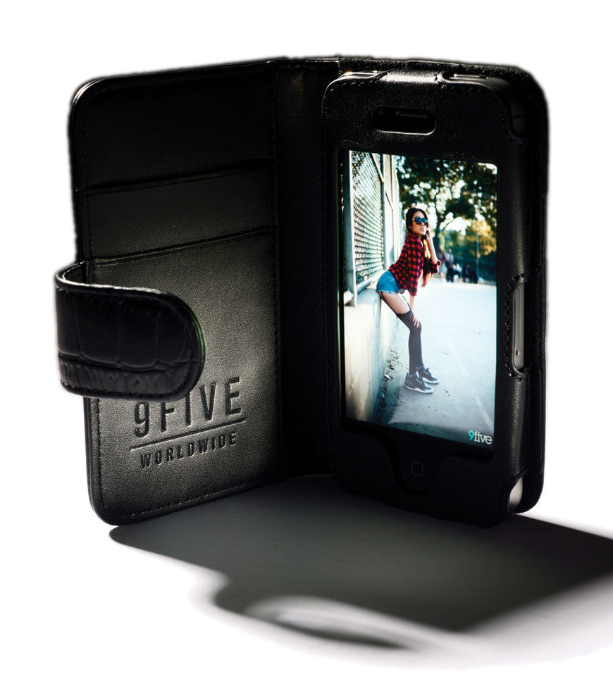 <!--020120612046134-->9five Eyewear - 'Leather iPhone Wallet' [(Black) Phone Case]