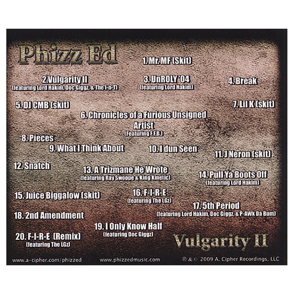<!--020091201011716-->Phizz Ed - 'Vulgarity II' [CD]