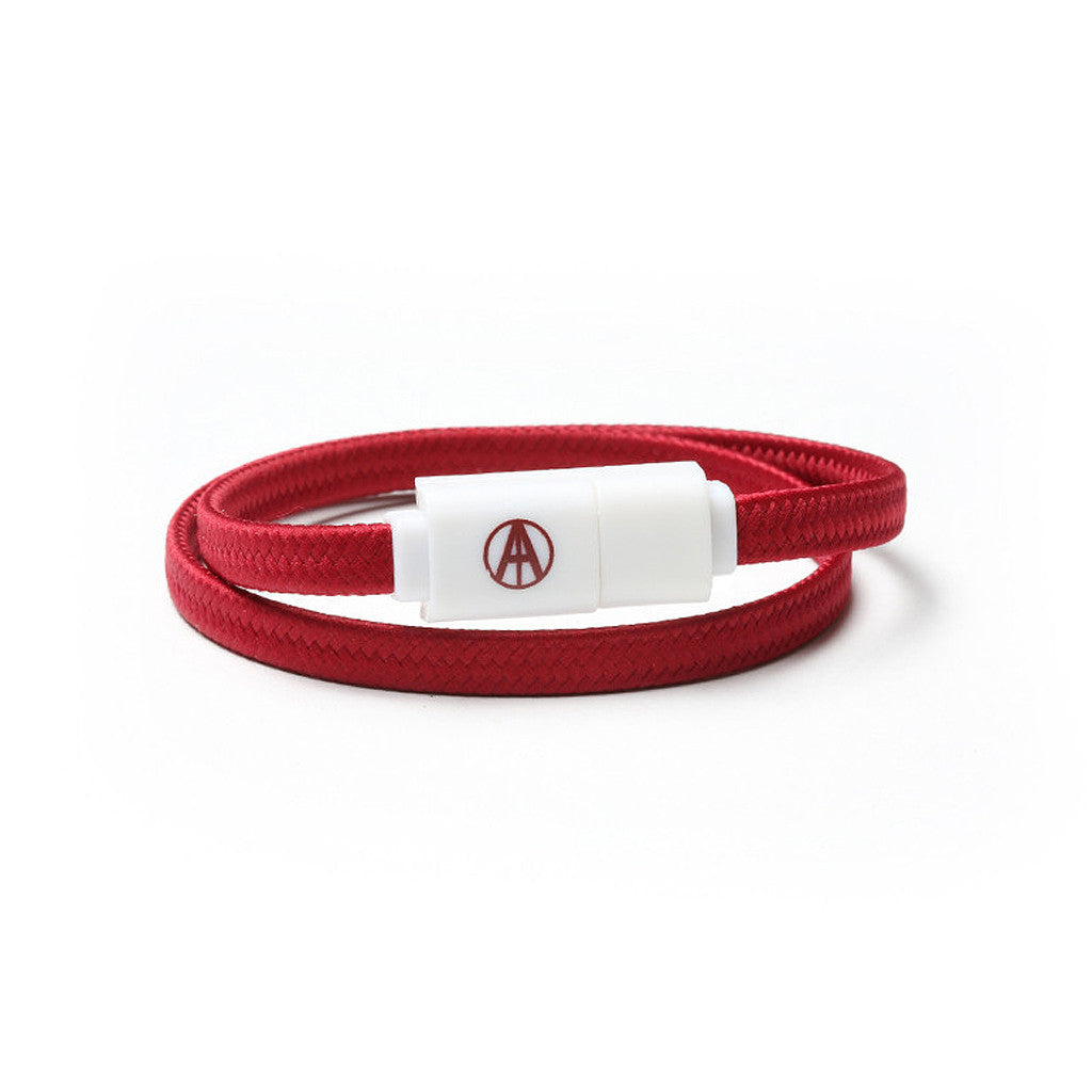 "<!--020160603073260-->Adapt Technology - '""""Essential"""" Double Wrap Lightning - Maroon White' [(Dark Red) Bracelet]"
