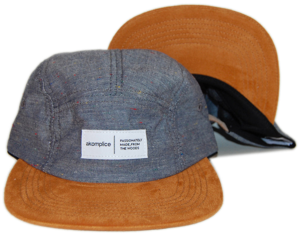 <!--020130910059848-->Akomplice - 'Chambray/ Suede' [(Dark Blue) Five Panel Camper Hat]