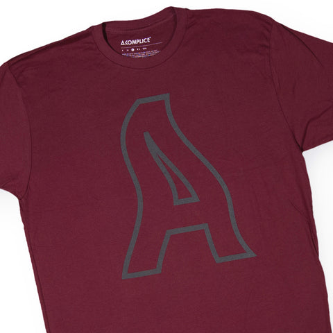 Akomplice - 'Wavy A' [(Dark Red) T-Shirt]