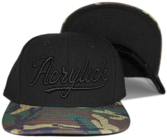 <!--020130514056592-->Acrylick - 'Script Camo' [(Black) Snap Back Hat]