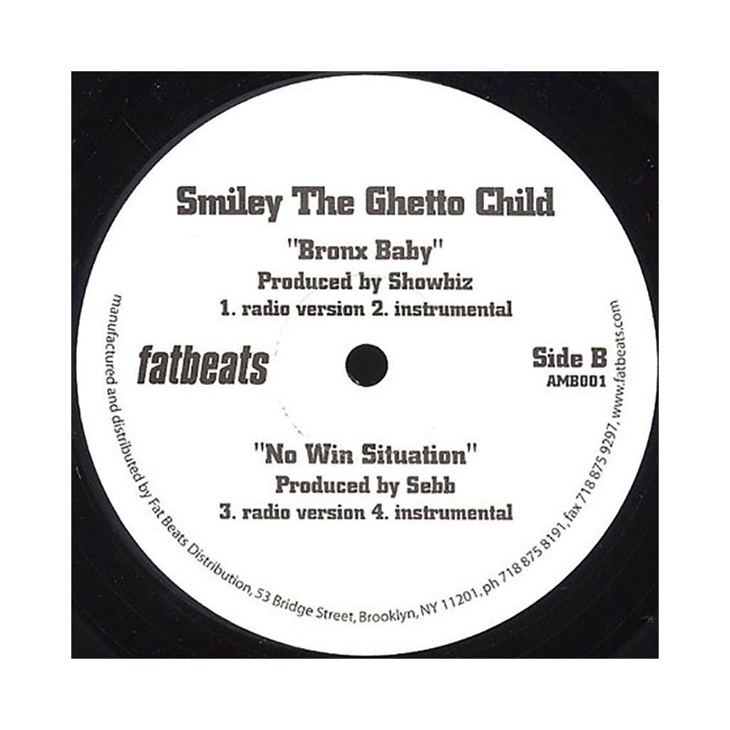 "<!--020090811017490-->Smiley The Ghetto Child - 'The Wake Up Call/ Bronx Baby/ No Win Situation' [(Black) 12"" Vinyl Single]"