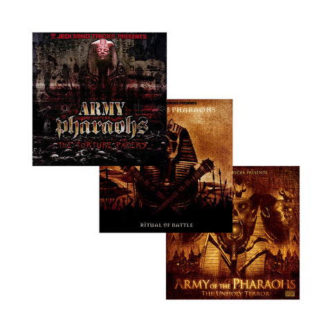 "[""Army Of The Pharaohs - 'AOTP 3-Pack: The Torture Papers + Ritual Of Battle + The Unholy Terror' [CD [3CD]]""]"