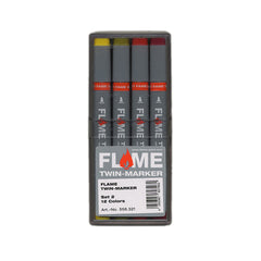 Flame - 'Twin Graphic: Set 2 (ASSORTED 12 PACK w/ PLASTIC CASE)' & [Marker [Ink]]
