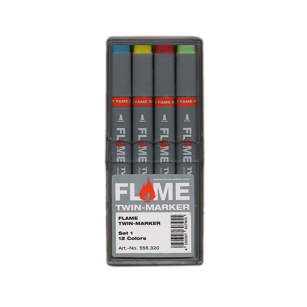 <!--020120501044752-->Flame - 'Twin Graphic: Set 1 (ASSORTED 12 PACK w/ PLASTIC CASE)' & [Marker [Ink]]