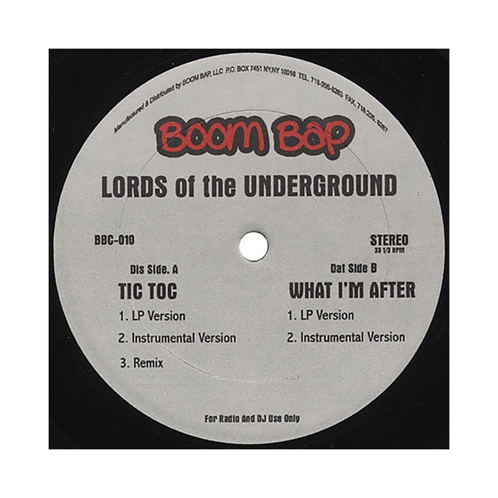 "<!--019000101011956-->Lords Of The Underground - 'Tic Toc/ Tic Toc (Remix)/ What I'm After' [(Black) 12"""" Vinyl Single]"