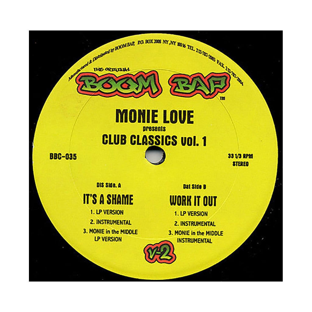 "Monie Love - 'It's A Shame/ Monie In The Middle/ Work It Out (Club Classics Vol. 1)' [(Black) 12"" Vinyl Single]"
