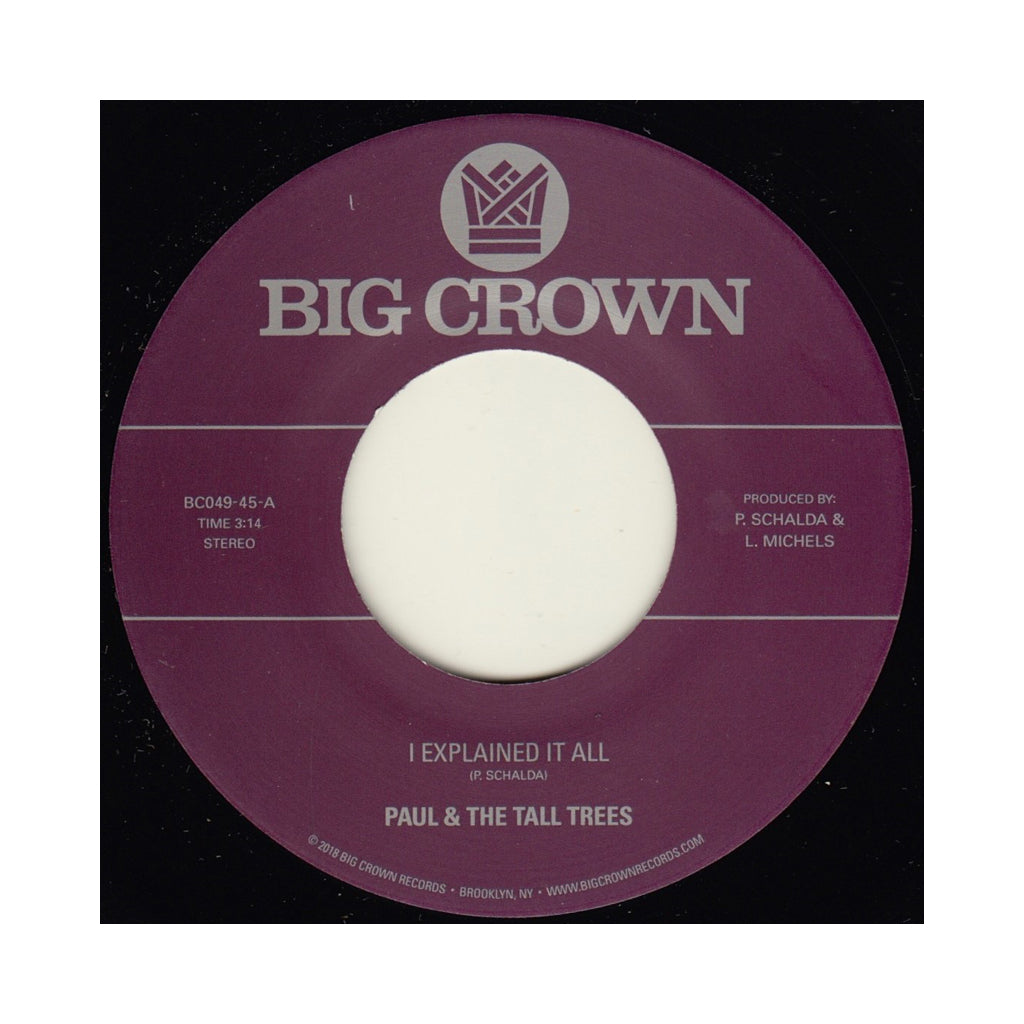 "Paul & The Tall Trees b/w Mattison - 'I Explained It All b/w Watch Out' [(Black) 7"" Vinyl Single]"