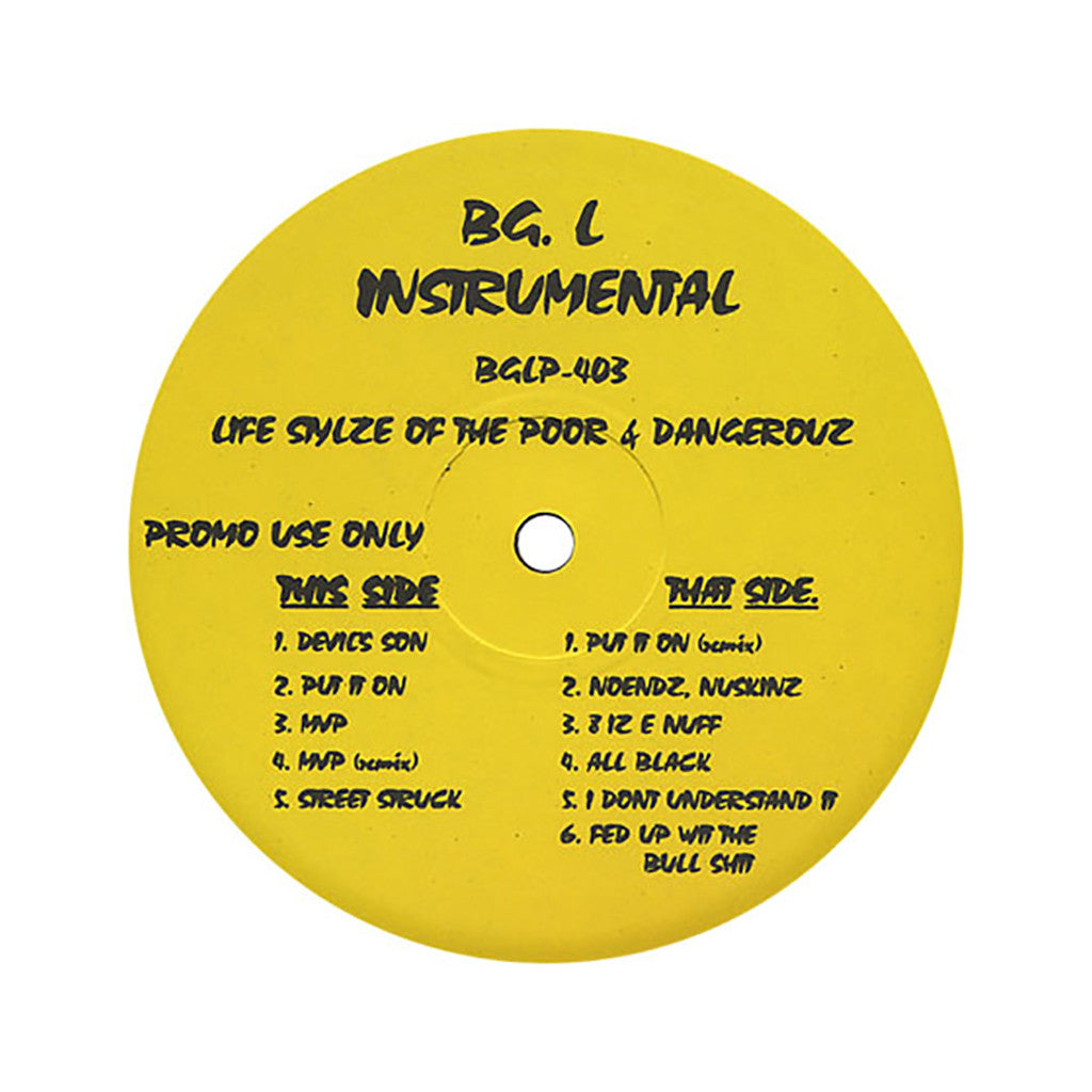 <!--019950328012538-->Big L - 'Lifestylez Ov Da Poor & Dangerous (Instrumentals)' [(Black) Vinyl LP]