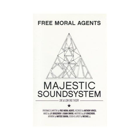 "[""Free Moral Agents - 'Majestic Soundsystem - Live At Low End Theory' [(White) Cassette Tape]""]"