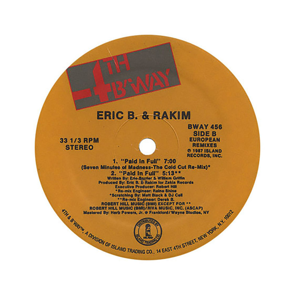 "<!--019870101012219-->Eric B. & Rakim - 'Move The Crowd/ Paid In Full (Remix)/ Paid In Full' [(Black) 12"" Vinyl Single]"