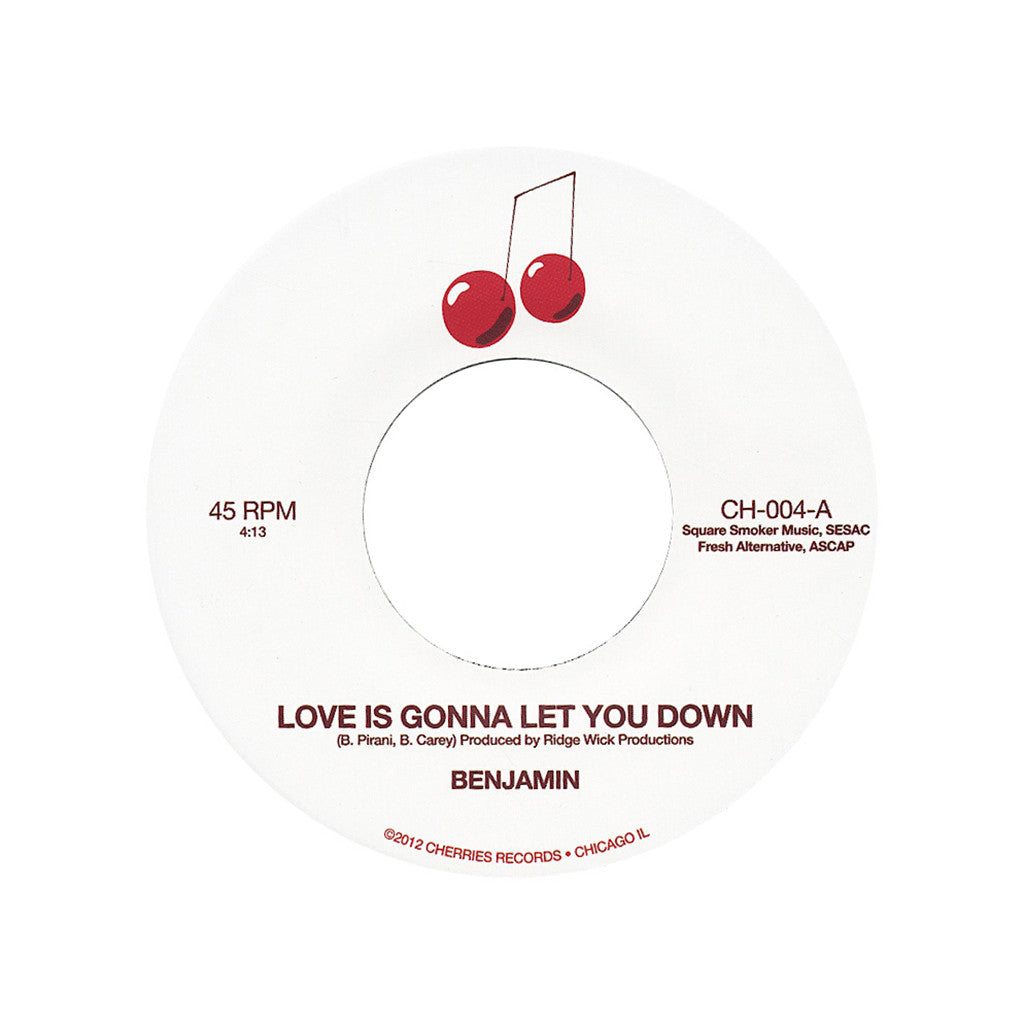"<!--020130212053666-->Benjamin - 'Love Is Gonna Let You Down/ Not A Moment Too Soon' [(Black) 7"" Vinyl Single]"