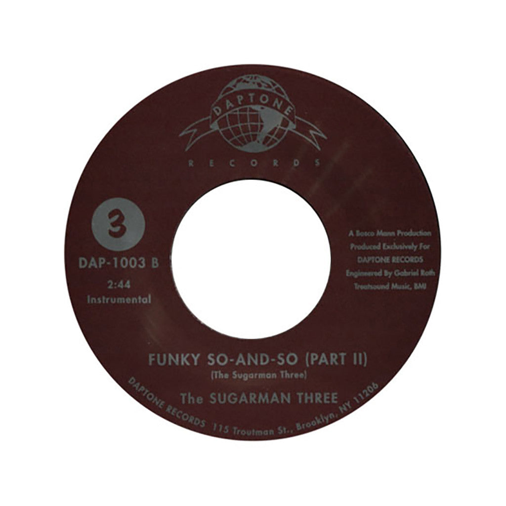 "The Sugarman Three - 'Funky So And So Pts. 1 & 2' [(Black) 7"" Vinyl Single]"
