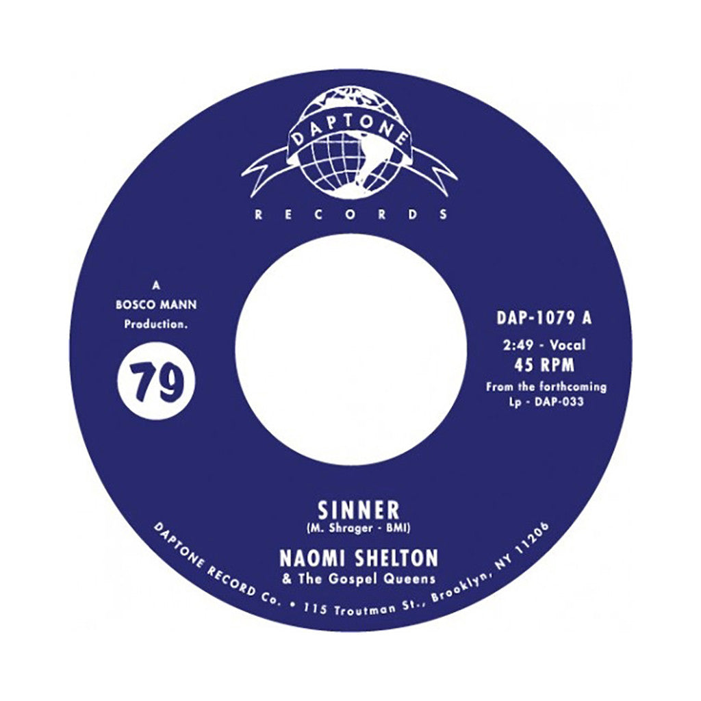 "<!--120140527063483-->Naomi Shelton & The Gospel Queens - 'Sinner/ Everybody Knows (River Song)' [(Black) 7"" Vinyl Single]"