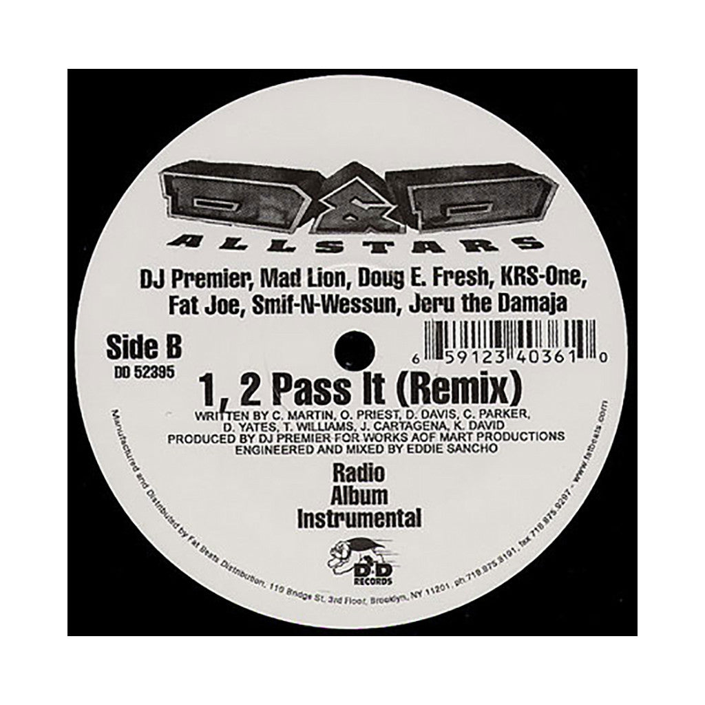 "<!--019950101016162-->D&D Allstars - '1, 2 Pass It/ 1, 2 Pass It (Remix)' [(Black) 12"" Vinyl Single]"