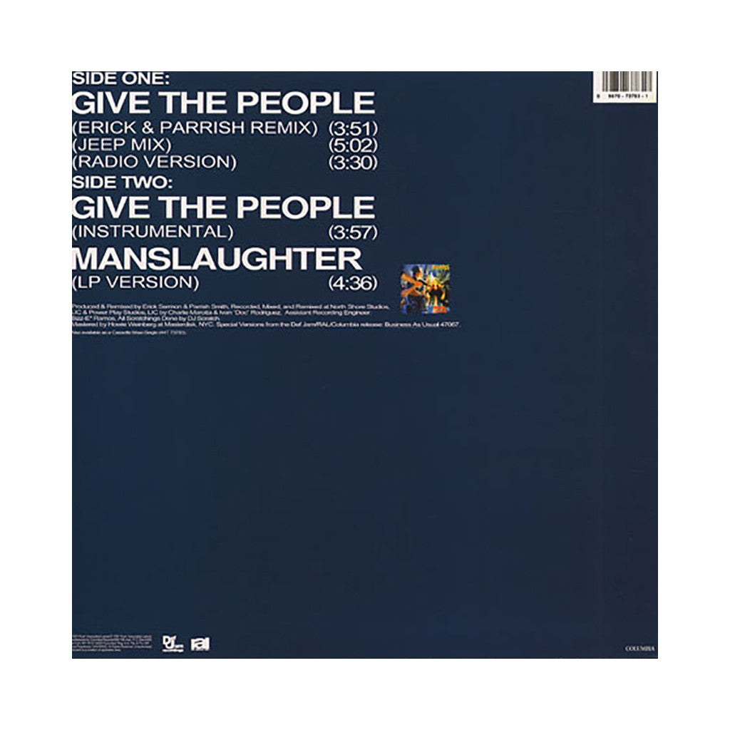 "<!--019910101012228-->EPMD - 'Give The People (Remix)/ Give The People/ Manslaughter' [(Black) 12"" Vinyl Single]"
