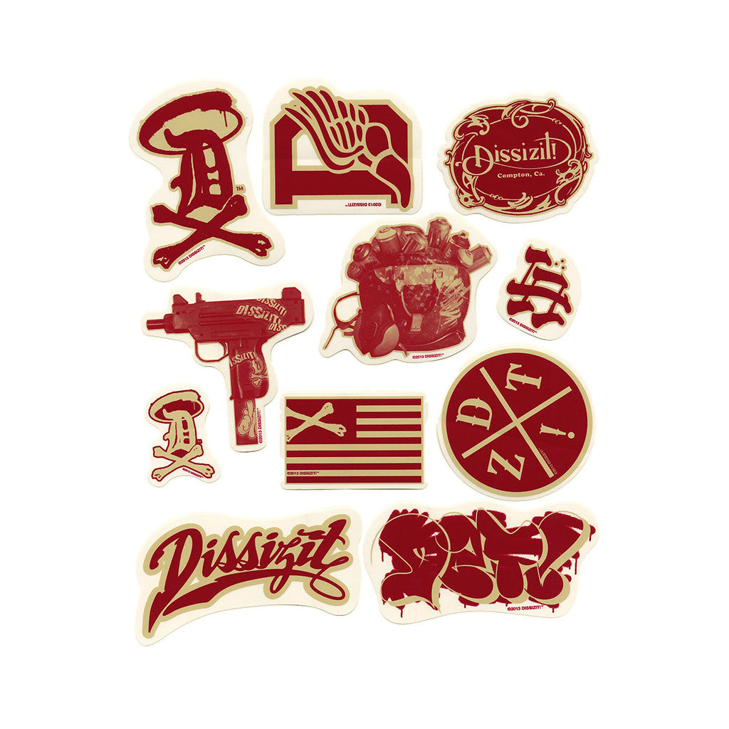 <!--020140218062573-->Dissizit! - 'Spring '14 Sticker Pack (X 11)' [(Red) Sticker]