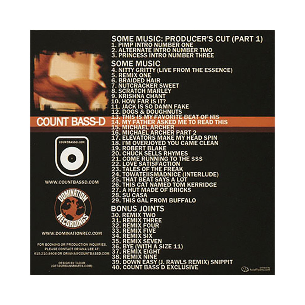 Count Bass D - 'Some Music Pt. 1: The Producer's Cut (Part 1)' [CD]