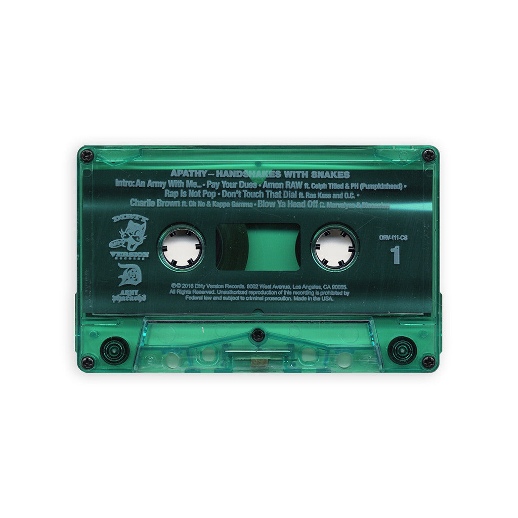 Apathy - 'Handshakes With Snakes' [(Translucent Green) Cassette Tape]