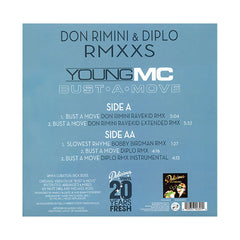 "Young MC & Diplo, Don Rimini - 'Bust A Move (Don Rimini Ravekid Remix)/ Slowest Rhyme (Bobby Birdman Remix)' [(Black) 12"" Vinyl Single]"