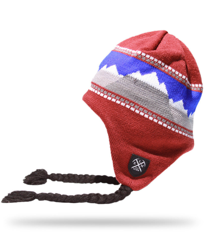 <!--2012111352-->Elm - 'Landscape Earflap' [(Dark Red) Winter Beanie Hat]