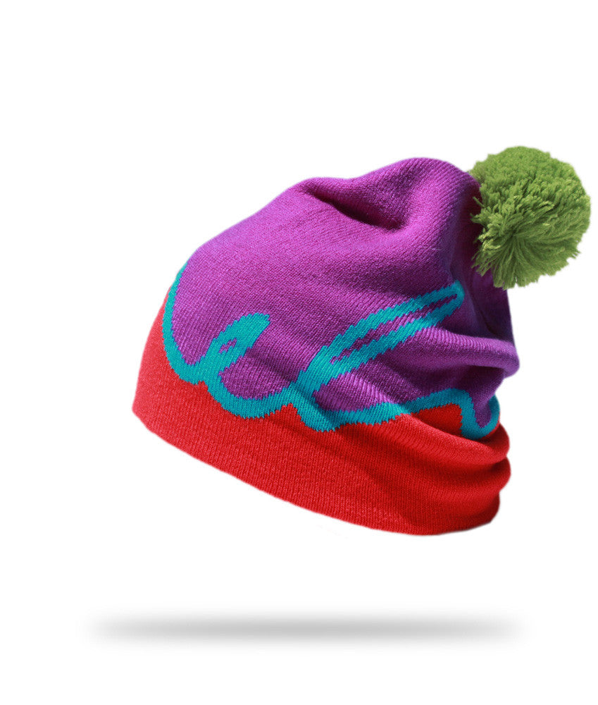 <!--2012111319-->Elm - 'Script - Purple/ Red' [(Purple) Winter Beanie Hat]