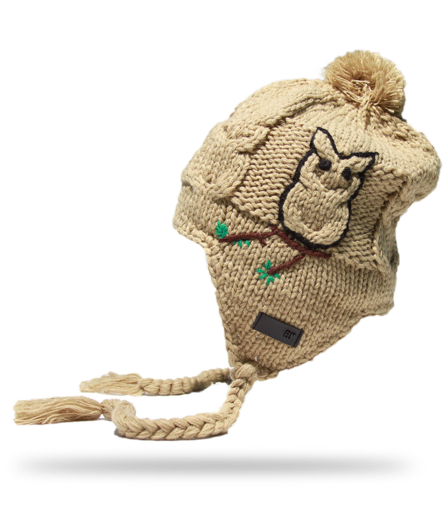 <!--020121113051757-->Elm - 'Owl Earflap' [(Light Brown) Winter Beanie Hat]