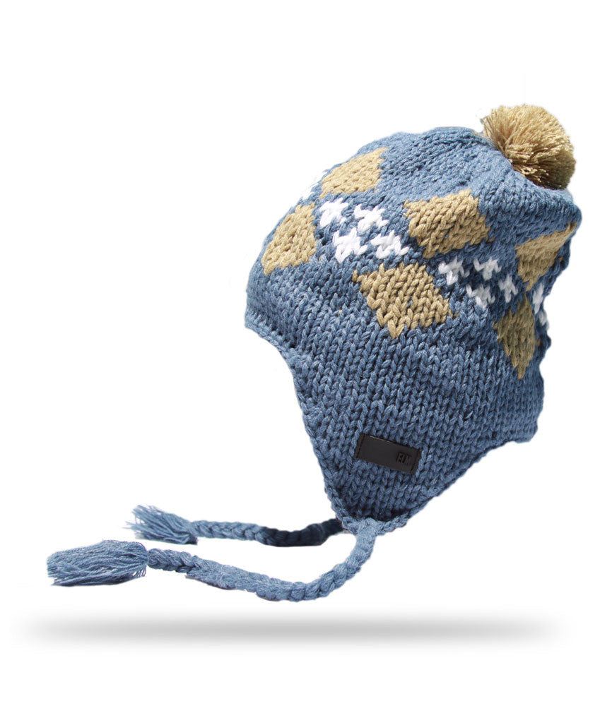 <!--020121113051790-->Elm - 'Argyle Earflap' [(Light Blue) Winter Beanie Hat]