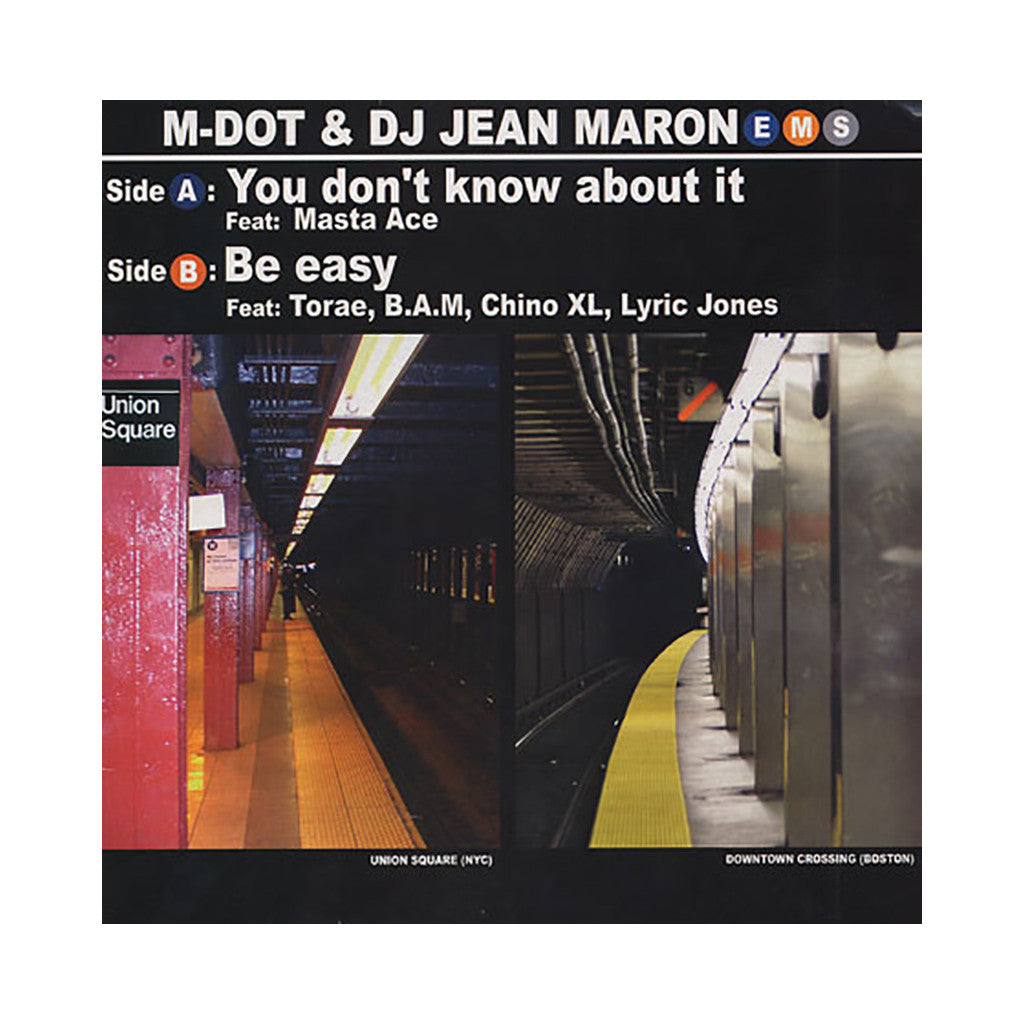 "M-Dot & DJ Jean Maron - 'You Don't Know About It/ Be Easy' [(Black) 12"" Vinyl Single]"