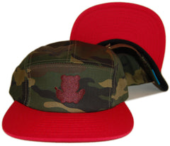 <!--020111213039402-->Entree - 'Teddy Camouflage - Red Brim' [(Camo Pattern) Five Panel Camper Hat]