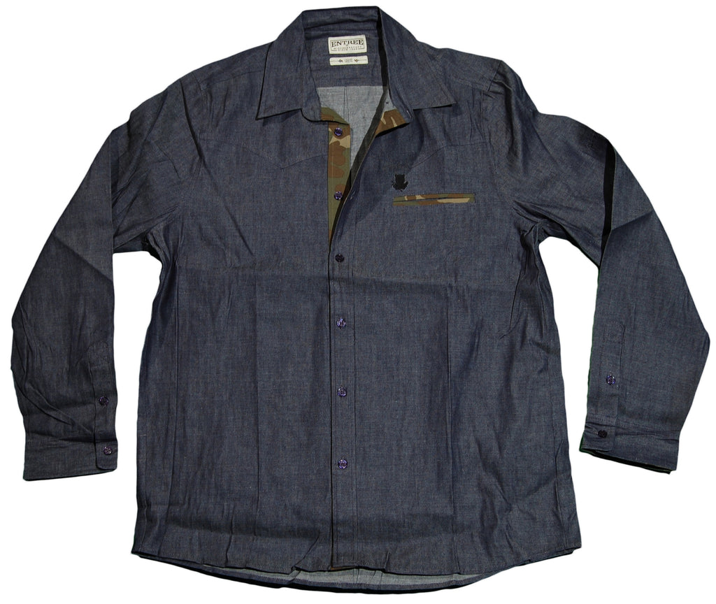 <!--2011121358-->Entree - 'Navy Denim - Hidden Camo' [(Dark Blue) Button Down Shirt]