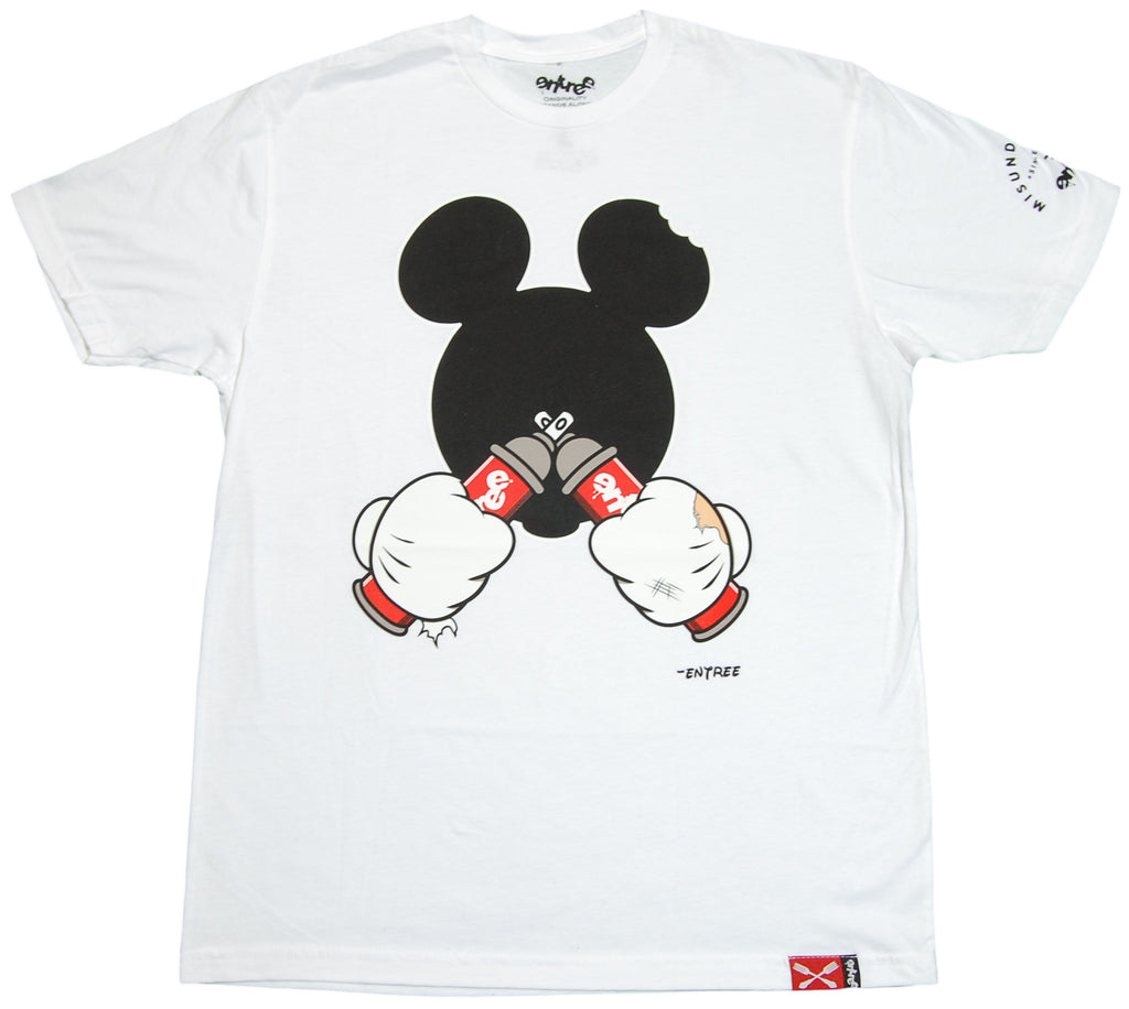<!--2011121317-->Entree - 'Mickey Cross Spray Can' [(White) T-Shirt]