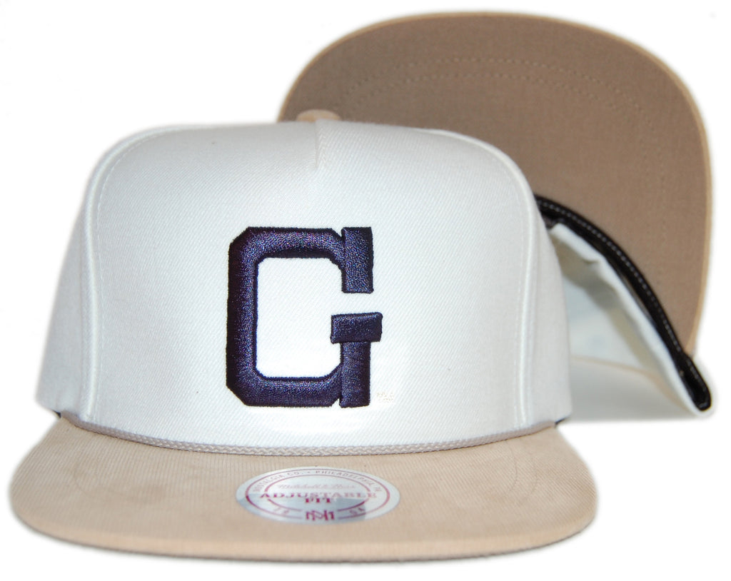 <!--020120529045679-->Mitchell & Ness x NCAA - 'Georgetown University: NCAA Cream Cord Visor Pinch Panel' [(Natural) Strap Back Hat]