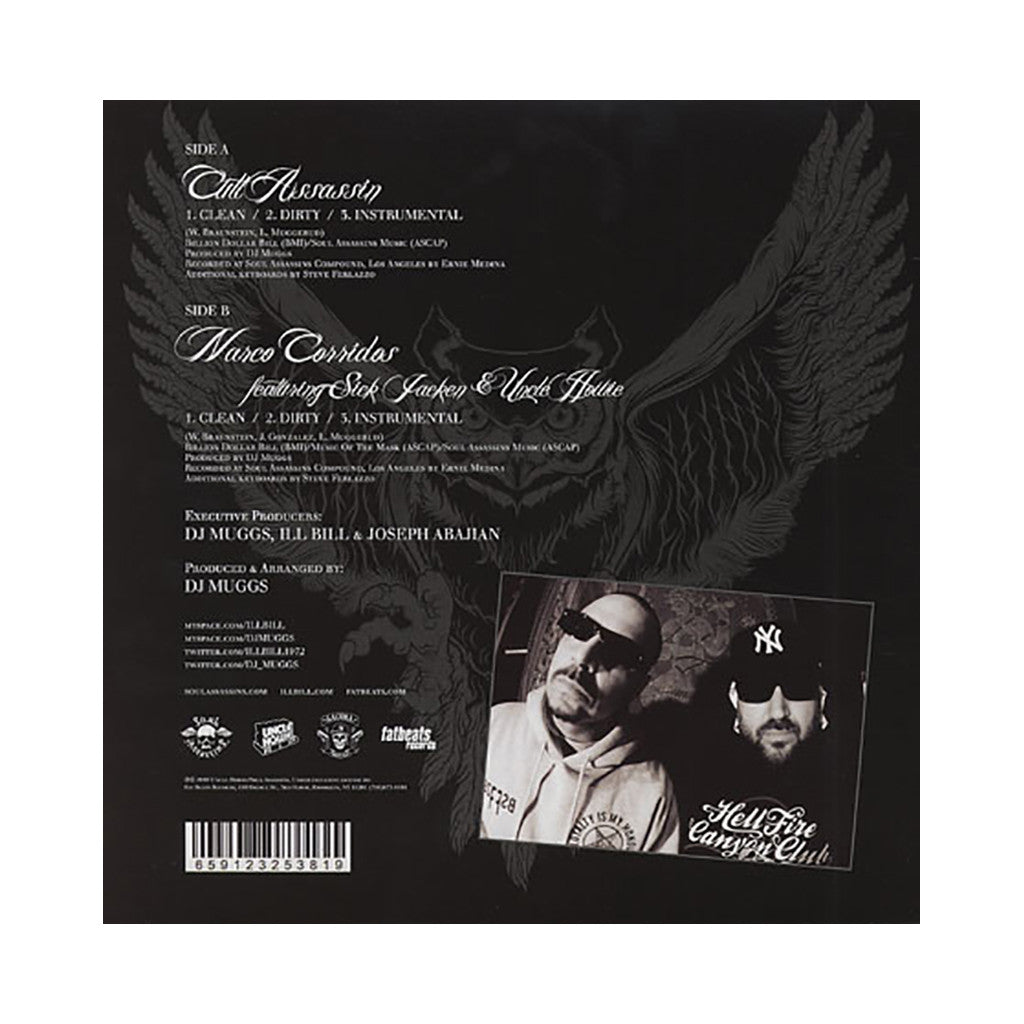 "DJ Muggs vs. ILL Bill - 'Cult Assassin/ Narco Corridos' [(Black) 12"" Vinyl Single]"