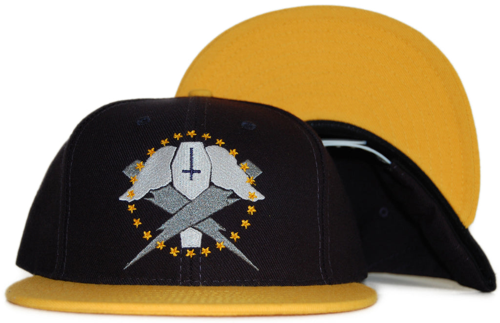 <!--020111101037871-->Flying Coffin - 'Bolts - Dark Yellow' [(Dark Blue) Snap Back Hat]