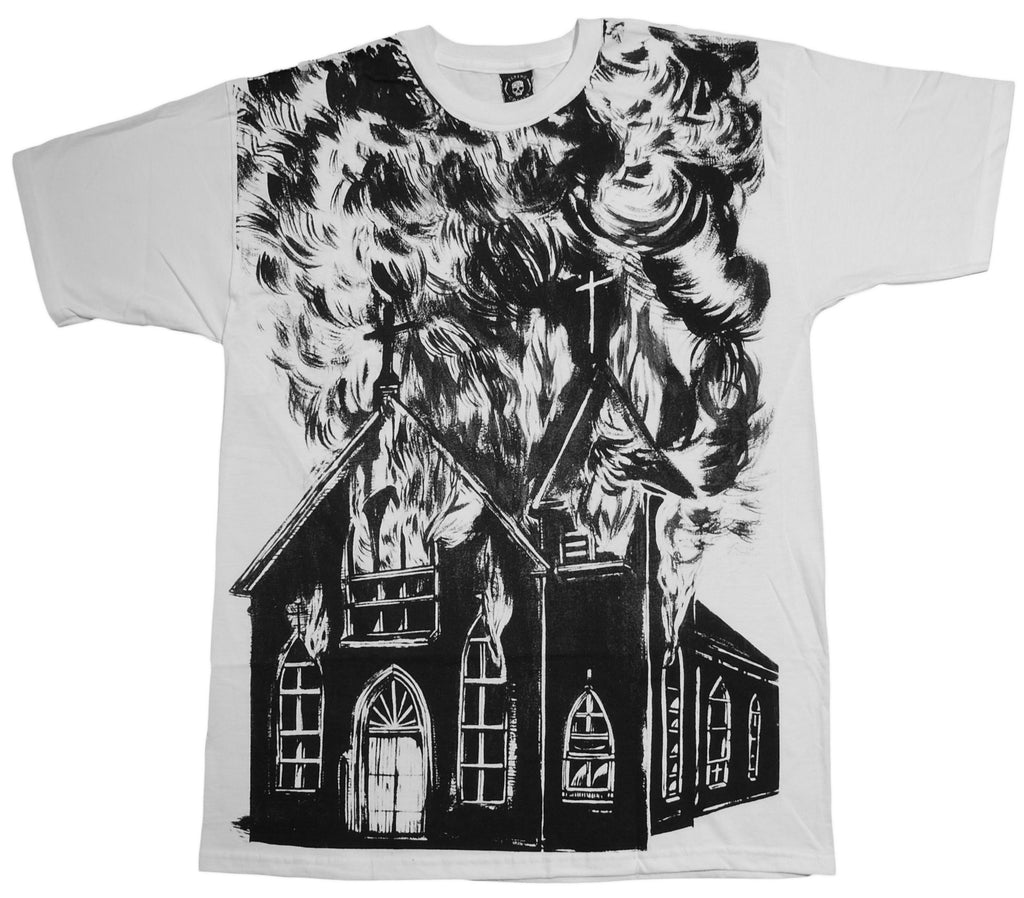 <!--2013080634-->Flying Coffin - 'Church Burner' [(White) T-Shirt]