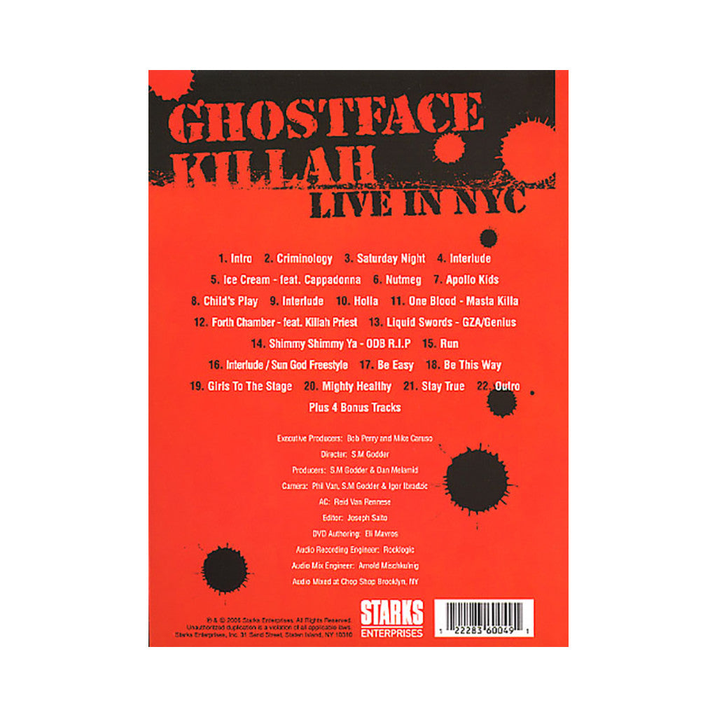 <!--020060620007524-->Ghostface Killah - 'Live In NYC' [DVD]