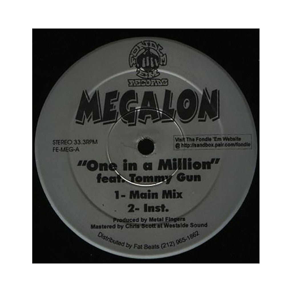 "<!--020000101002204-->Megalon - 'One In A Million/ Peace To The Homeless' [(Black) 12"" Vinyl Single]"