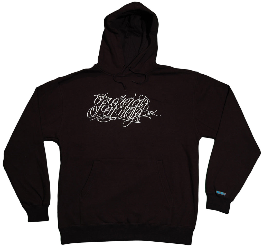 <!--2011110111-->Foreign Family - 'Script' [(Black) Hooded Sweatshirt]
