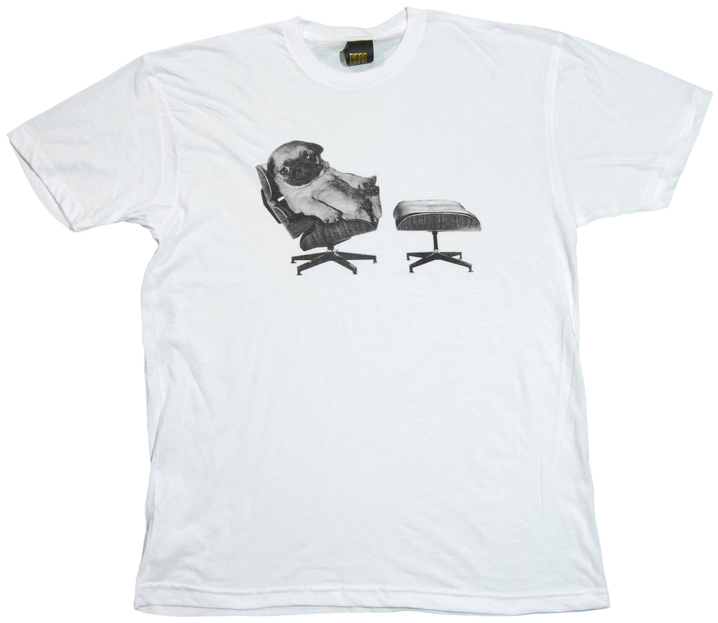 <!--2011112238-->Free Gold Watch - 'Pug Lounge' [(White) T-Shirt]