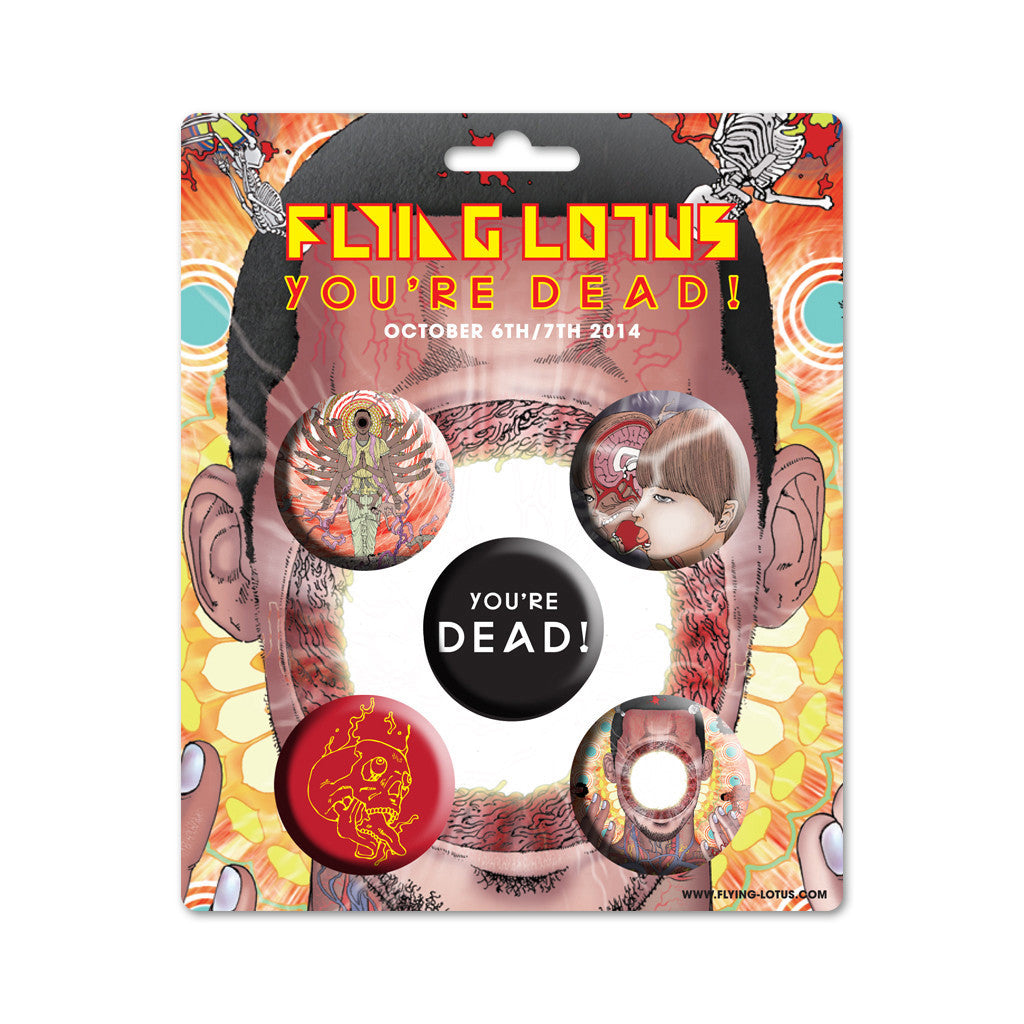 <!--020141110066959-->Flying Lotus x Shintaro Kago - 'You're Dead! Buttons (Assorted 5 Pack)' [Pin]
