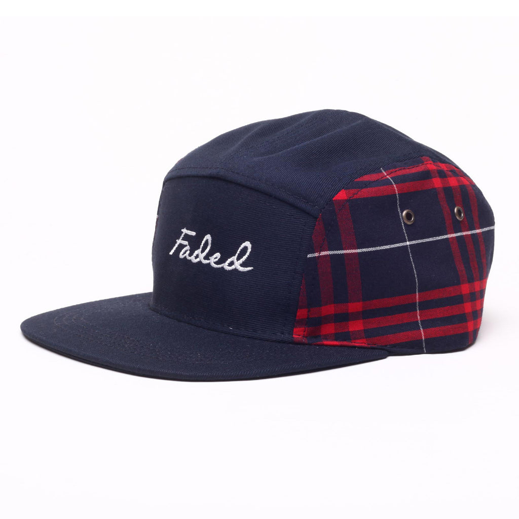 <!--020140717064932-->Faded Royalty - 'Plaid Side' [(Dark Blue) Five Panel Camper Hat]