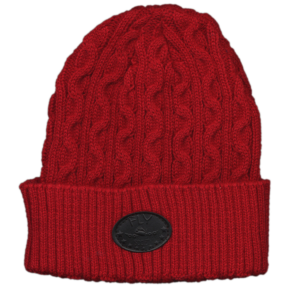 <!--020120110040086-->Fly Society - 'Explorer Cable Cuff Beanie' [(Red) Winter Beanie Hat]
