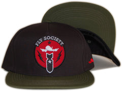 <!--020120501044750-->Fly Society - 'Bomb Squad - Black/ Dark Green' [(Black) Snap Back Hat]