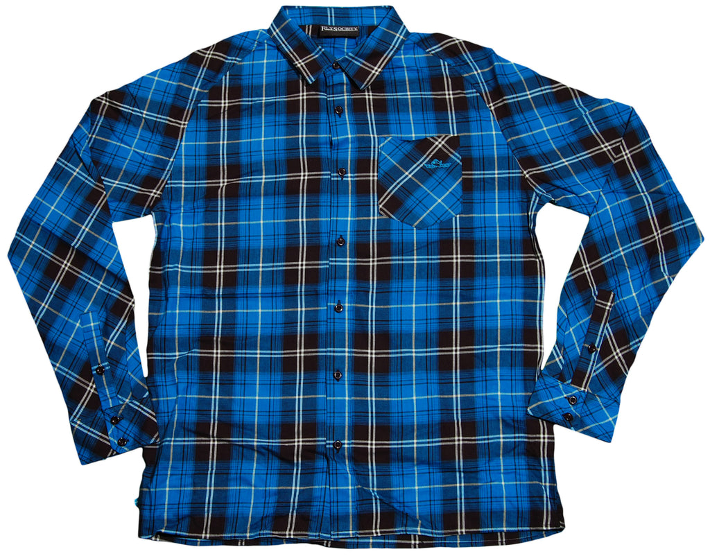 <!--2011121313-->Fly Society - 'Brooklands Plaid Raglan' [(Blue) Button Down Shirt]