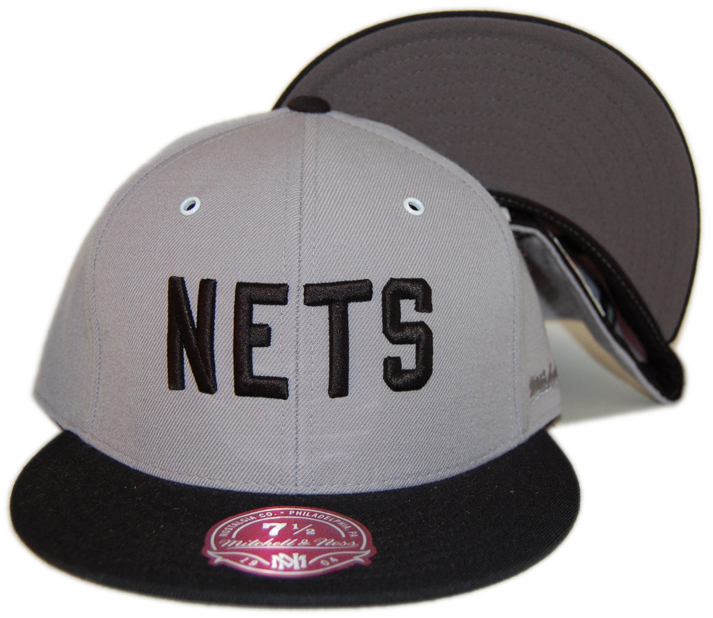 Mitchell & Ness x NBA - 'New York Nets - NBA HWC Grey / Black XL Wordmark' [(Light Gray) Fitted Hat]