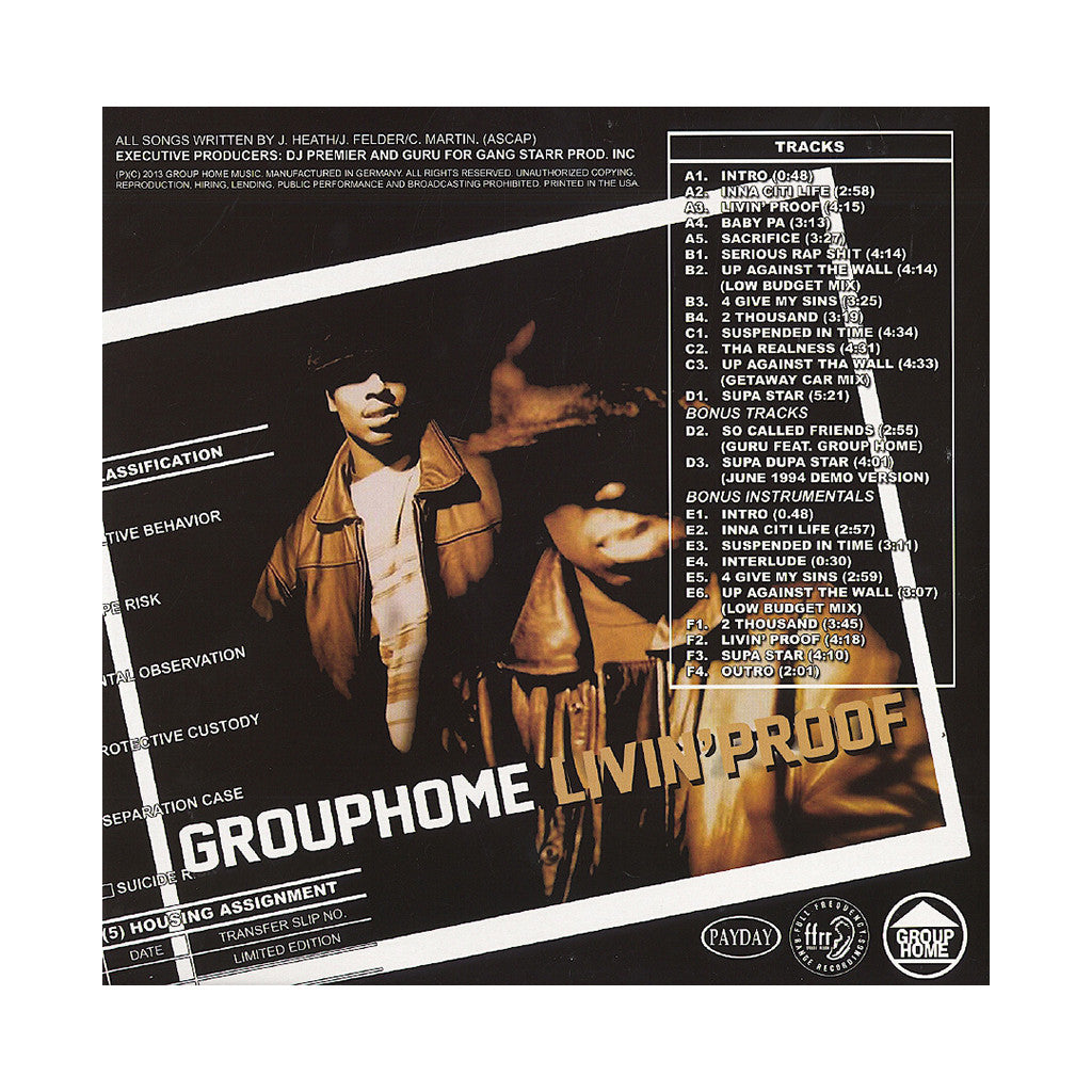 <!--2013071649-->Group Home - 'Livin' Proof (Deluxe Edition)' [(Clear) Vinyl [3LP]]